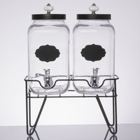 Double 0.8 Gallon Style Setter Manchester Glass Beverage Dispenser with Metal Stand