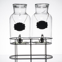 Double 1.2 Gallon Style Setter Sierra Glass Beverage Dispenser with Metal Stand
