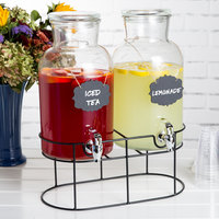 The Jay Companies 210439-SGB Double 1.2 Gallon Style Setter Sierra Glass Beverage Dispenser with Metal Stand