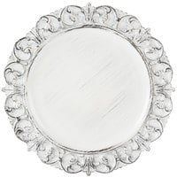 The Jay Companies 14 inch Round White Embossed Antique Melamine Charger Plate