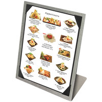 Menu Solutions MTPIX-811 Alumitique Aluminum Menu Tent with Picture Corners - Brushed Finish - 8 1/2 inch x 11 inch