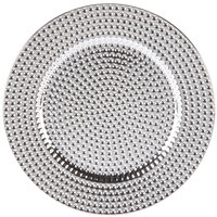 The Jay Companies 13 inch Round Silver Beaded Polypropylene Charger Plate   - 4/Set