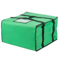 Choice 20 inch x 20 inch x 12 inch Green Soft-Sided Nylon Insulated Pizza Delivery Bag - Holds Up To (6) 16 inch, (5) 18 inch, or (4) 20 inch Pizza Boxes