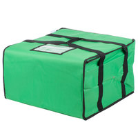 Choice Soft-Sided Insulated Pizza Delivery Bag, Green Nylon, 20 inch x 20 inch x 12 inch - Holds Up To (6) 16 inch, (5) 18 inch, or (4) 20 inch Pizza Boxes