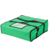 Choice Soft-Sided Insulated Pizza Delivery Bag, Green Nylon, 18 inch x 18 inch x 5 inch - Holds Up To (2) 16 inch Pizza Boxes or (1) 18 inch Pizza Box