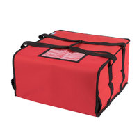 Choice Soft-Sided Insulated Pizza Delivery Bag, Red Nylon, 16 inch x 16 inch x 8 inch - Holds Up To (4) 12 inch or 14 inch Pizza Boxes