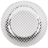 The Jay Companies 13 inch Round Silver Link Polypropylene Charger Plate   - 4/Set