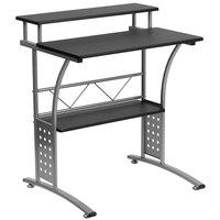 Flash Furniture NAN-CLIFTON-BK-GG Black Laminate Computer Desk with Metal Frame - 28 inch x 23 inch x 33 inch
