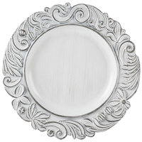 The Jay Companies 14 inch Round White Aristocrat Antique Melamine Charger Plate