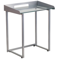Flash Furniture NAN-YLCD1234-GG Tempered Glass Desk with Silver Metal Frame and Wire Cutout - 28 inch x 18 inch x 32 inch