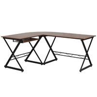 Flash Furniture NAN-WK-109-GG Teakwood Laminate Computer Desk with Keyboard Tray - 87 inch x 50 inch x 30 inch