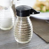 Tablecraft BH2MPBK 2 oz. Glass Shaker with Black Moisture Proof ABS Top - 24/Case