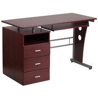 Flash Furniture NAN-WK-008-GG Mahogany Laminate Desk with 3 Drawer Pedestal and Keyboard Tray - 47 inch x 28 inch x 30 inch