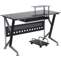 Flash Furniture NAN-WK-059-GG Black Glass Desk with Pull-Out Keyboard Tray and CPU Cart - 47 inch x 28 inch x 30 inch