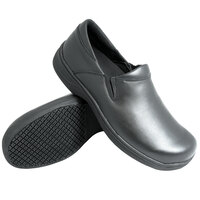 Genuine Grip 470 Women's Size 9.5 Wide Width Black Ultra Light Non Slip Slip-On Leather Shoe