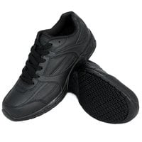 Genuine Grip 1110 Women's Size 5.5 Wide Width Black Leather Athletic Non Slip Shoe