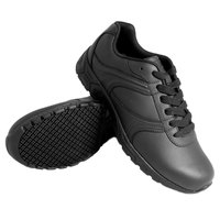 Genuine Grip 130 Women's Size 5.5 Wide Width Black Leather Athletic Plain Toe Non Slip Shoe
