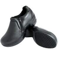 Genuine Grip 460 Women's Size 7.5 Medium Width Black Non Slip Full Grain Leather Clog with Side Zipper