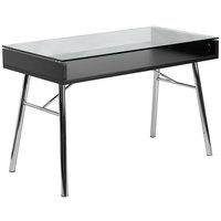 Flash Furniture NAN-JN-2966-GG Tempered Glass Desk with Chrome Frame - 47 inch x 24 inch x 30 inch