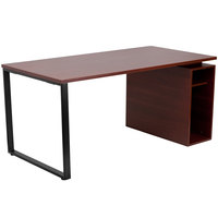 Flash Furniture NAN-JN-2108-GG Mahogany Laminate Computer Desk with Open Storage Pedestal - 63 inch x 32 inch x 29 inch