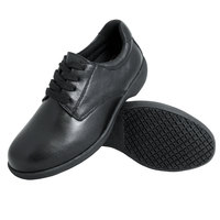 Genuine Grip 420 Women's Size 7.5 Wide Width Black Full Grain Leather Tie Non Slip Shoe