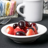 Acopa 5 oz. Bright White Rolled Edge Stoneware Fruit Bowl / Monkey Dish - 36/Case
