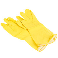 Extra Large Multi-Use Yellow Rubber Flock Lined Gloves, Pair - 12/Pack