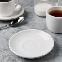 Acopa 5 inch Bright White Rolled Edge Demitasse China Saucer - 36/Case