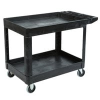 Rubbermaid FG452089BLA Black 500 lb. Two Shelf Utility Cart - 45 1/4 inch x 25 7/8 inch x 33 1/4 inch