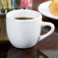 Acopa 3.5 oz. Bright White Rolled Edge China Demitasse Cup - 36/Case