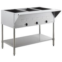ServIt EST-3WE Three Pan Open Well Electric Steam Table with Undershelf - 120V, 1500W