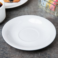Acopa 6 inch Bright White Rolled Edge China Saucer - 36/Case