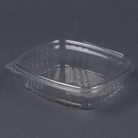 Genpak AD08 5 3/8 inch x 4 1/2 inch x 1 1/2 inch  8 oz. Clear Hinged Deli Container – 100 / Pack