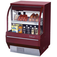Turbo Air TCDD-36-2-L 36 inch Red Low Profile Curved Glass Refrigerated Deli Case