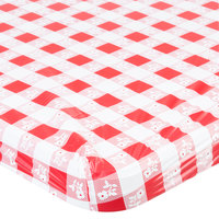 Creative Converting 37388 Stay Put 30 inch x 96 inch Red Gingham Plastic Table Cover