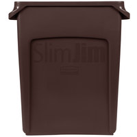 Rubbermaid 1956181 Slim Jim 16 Gallon Brown Wall Hugger Trash Can