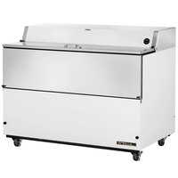 True TMC-58-HC 58 inch One Sided Milk Cooler with White / Stainless Steel Exterior and Aluminum Interior
