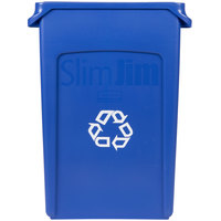 Rubbermaid FG354007BLUE Slim Jim 23 Gallon Blue Wall Hugger Recycling Container
