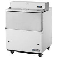 True TMC-34-HC 34 inch One Sided Milk Cooler with White / Stainless Steel Exterior and Aluminum Interior