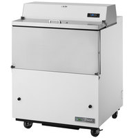 True TMC-34-SS-HC 34 inch One Sided Milk Cooler with White / Stainless Steel Exterior and Stainless Steel Interior