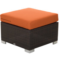 BFM Seating PH5106JV-54010 Aruba Java Wicker Ottoman with Rust Canvas Cushion