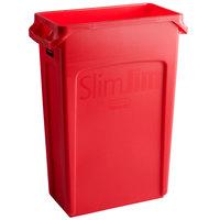 Rubbermaid 1956189 Slim Jim 92 Qt. / 23 Gallon Red Rectangular Trash Can