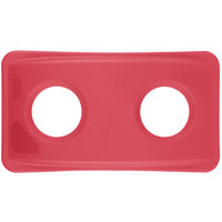 Rubbermaid FG269288RED Slim Jim Red Wall Hugger Recycling Container Lid with 2 Holes