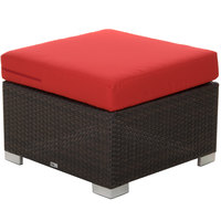 BFM Seating PH5106JV-5477 Aruba Java Wicker Ottoman with Logo Red Cushion