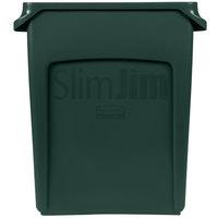 Rubbermaid 1955960 Slim Jim 16 Gallon Green Wall Hugger Trash Can
