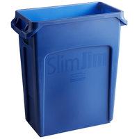 Rubbermaid 1971257 Slim Jim 64 Qt. / 16 Gallon Blue Trash Can