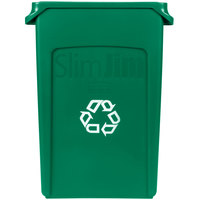 Rubbermaid FG354007GRN Slim Jim 23 Gallon Green Wall Hugger Recycling Container