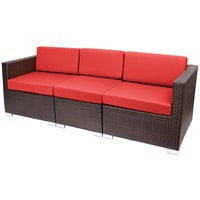 BFM Seating PH5101JV-5477 Aruba Java Wicker Outdoor / Indoor Sofa with Logo Red Cushions