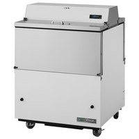 True TMC-34-DS-HC 34 inch Two Sided Milk Cooler with White / Stainless Steel Exterior and Aluminum Interior