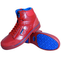 Genuine Grip 5013 Stealth Men's Size 10 Medium Width Red and Blue Laced Non Slip Shoe with Composite Toe and Side Zipper